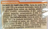 Chorizo Pamplona Extra + Salchichon Extra - Ingrediënten - es