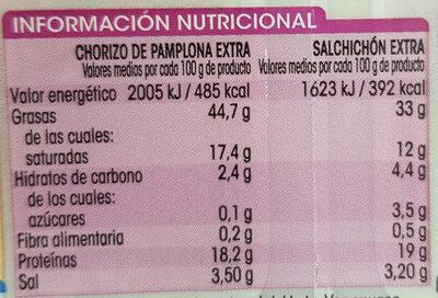 Chorizo Pamplona Extra + Salchichon Extra - Voedingswaarden - es