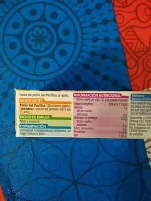 Tacos al ajillo - Nutrition facts
