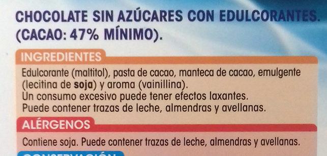 Chocolate puro - Ingredientes