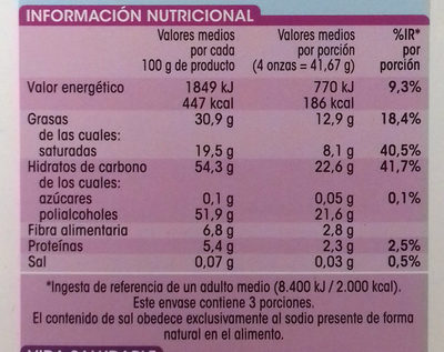 Chocolate puro - Informations nutritionnelles - es