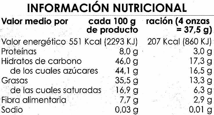 Tableta de chocolate negro con almendras 47% cacao - Informació nutricional - es