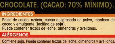 Chocolate puro 70% cacao - Ingredientes