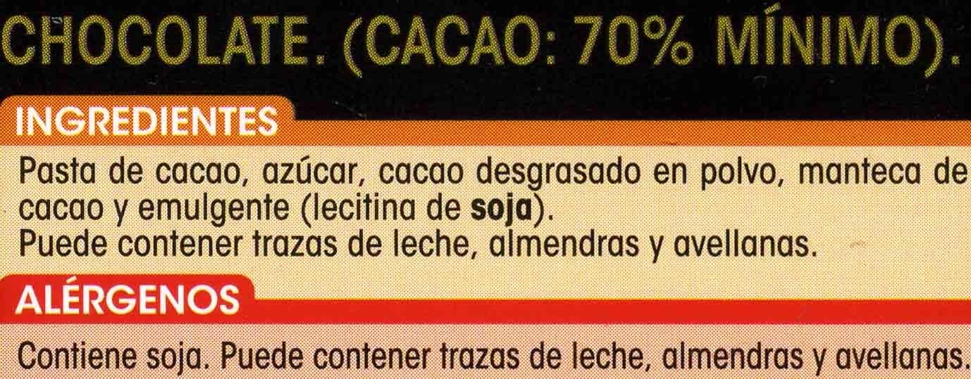 Chocolate puro 70% cacao - Ingredientes - es