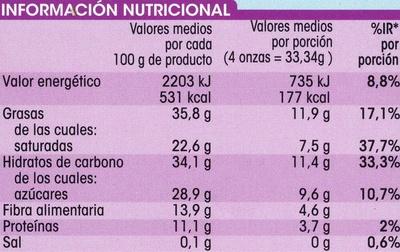 Chocolate puro 70% cacao - Información nutricional