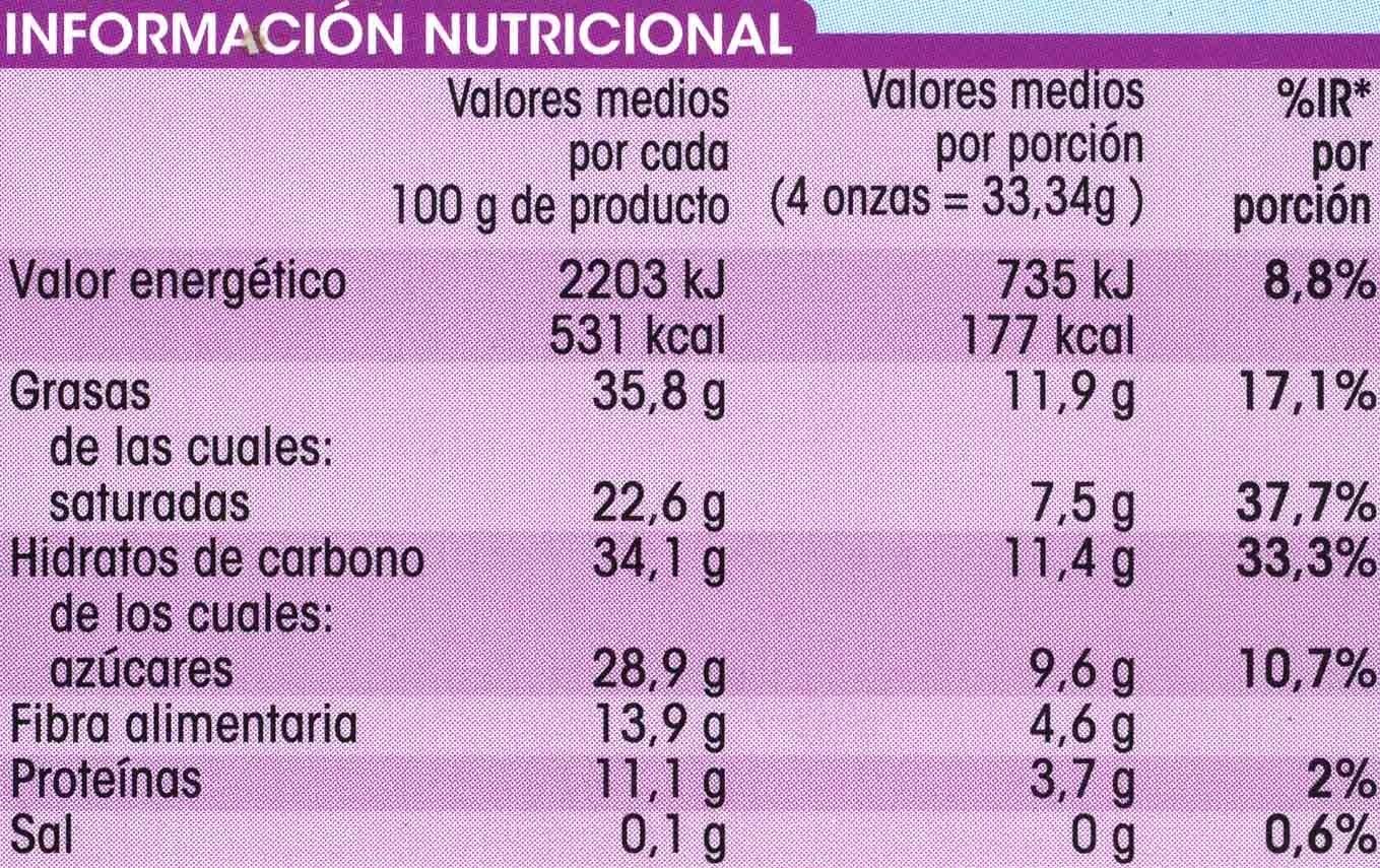 Chocolate puro 70% cacao - Información nutricional - es