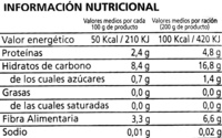 Judías con patatas - Voedingswaarden - es