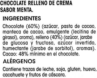 Tableta de chocolate relleno sabor menta - Ingredientes
