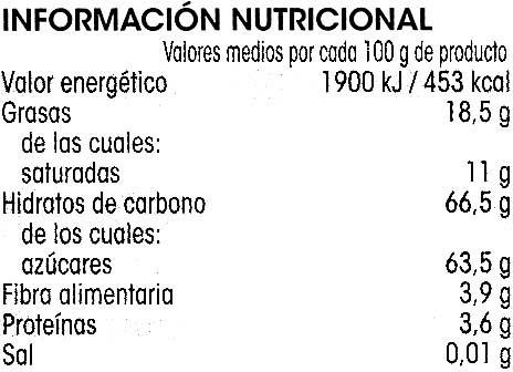 Chocolate negro relleno menta - Información nutricional