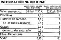 """Espinacas en hojas congeladas """"Alipende"""" - Información nutricional"""