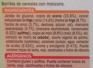 Barritas de cereales con manzana - Ingredientes - es