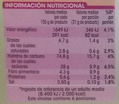 Barritas de cereales con manzana - Información nutricional - es