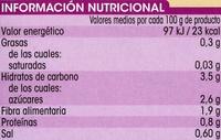 Tomate Entero Pelado Extra - Información nutricional - es
