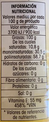 Aceite girasol - Nutrition facts