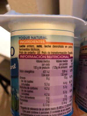 Yogurt al estio griego - Ingredientes