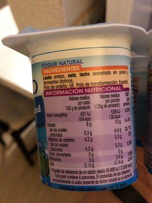 Yogurt al estio griego - Información nutricional