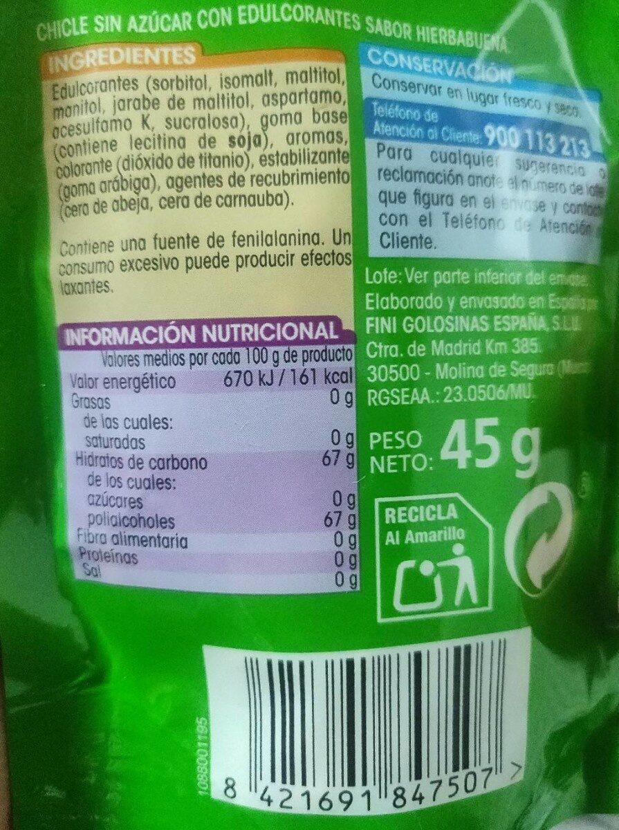 Chicles sabor hierbabuena SIN azúcar - Ingredientes