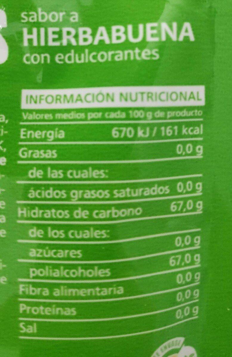 Chicles sabor hierbabuena SIN azúcar - Información nutricional