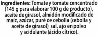 "Tomate frito ""Alipende"" Pack de 3 - Ingrédients"