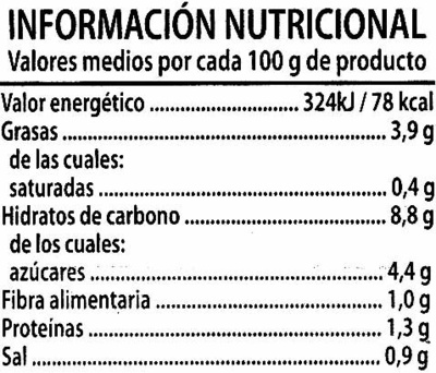 """Tomate frito """"Alipende"""" Pack de 3 - Informations nutritionnelles"""