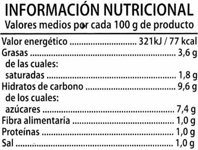 """Tomate frito """"Alipende"""" con aceite de oliva - Información nutricional - es"""