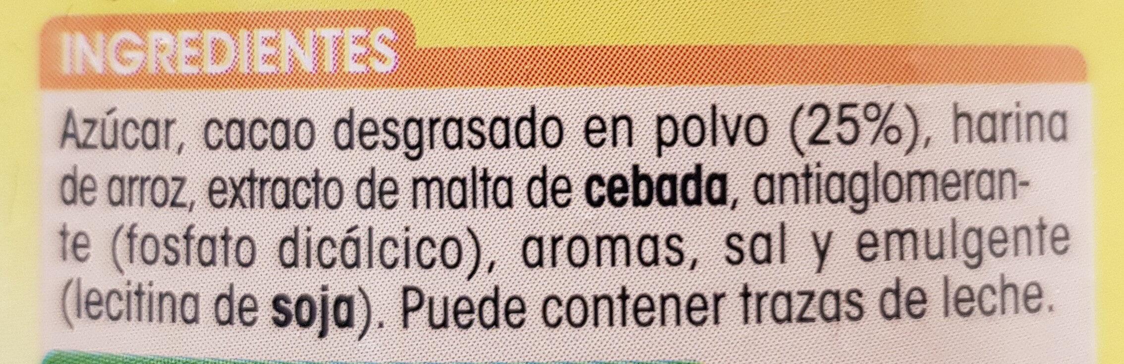 Preparado soluble al cacao - Ingredientes - es