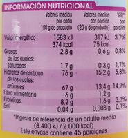 Preparado soluble al cacao - Información nutricional - es