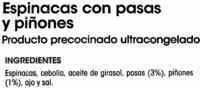 Espinacas con pasas y piñones - Ingredientes