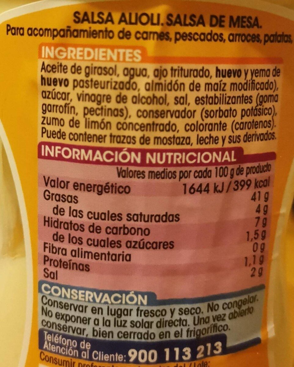 Salsa Ali olí - Informació nutricional