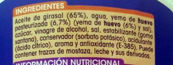 Mayonesa - Ingrédients - es
