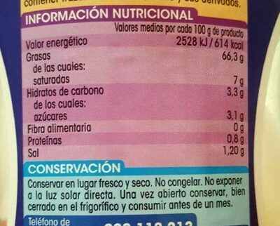 Mayonesa - Informations nutritionnelles - es