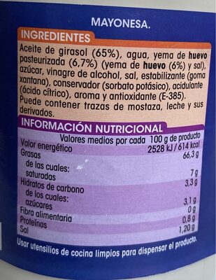 Mayonesa - Informació nutricional