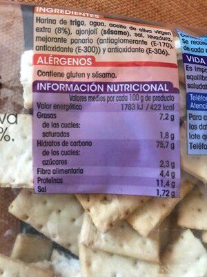 Regañas - Información nutricional - es