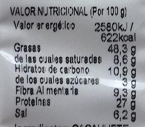 Frutos secos - Información nutricional