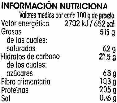 Pistacho tostado - Información nutricional