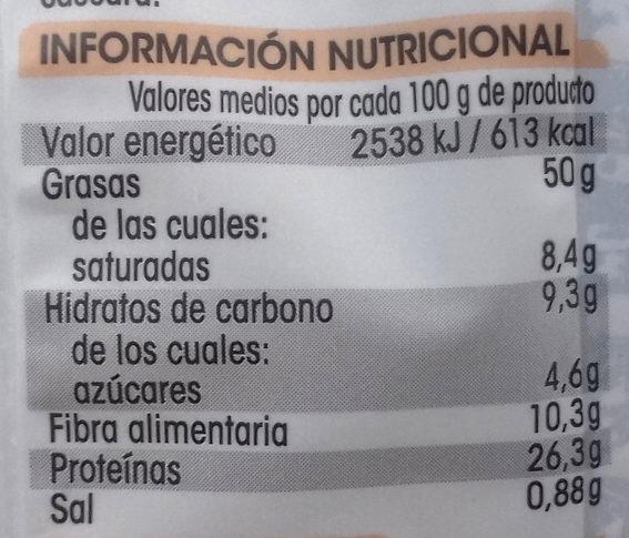 Cacahuete repelado con sal - Informació nutricional - es