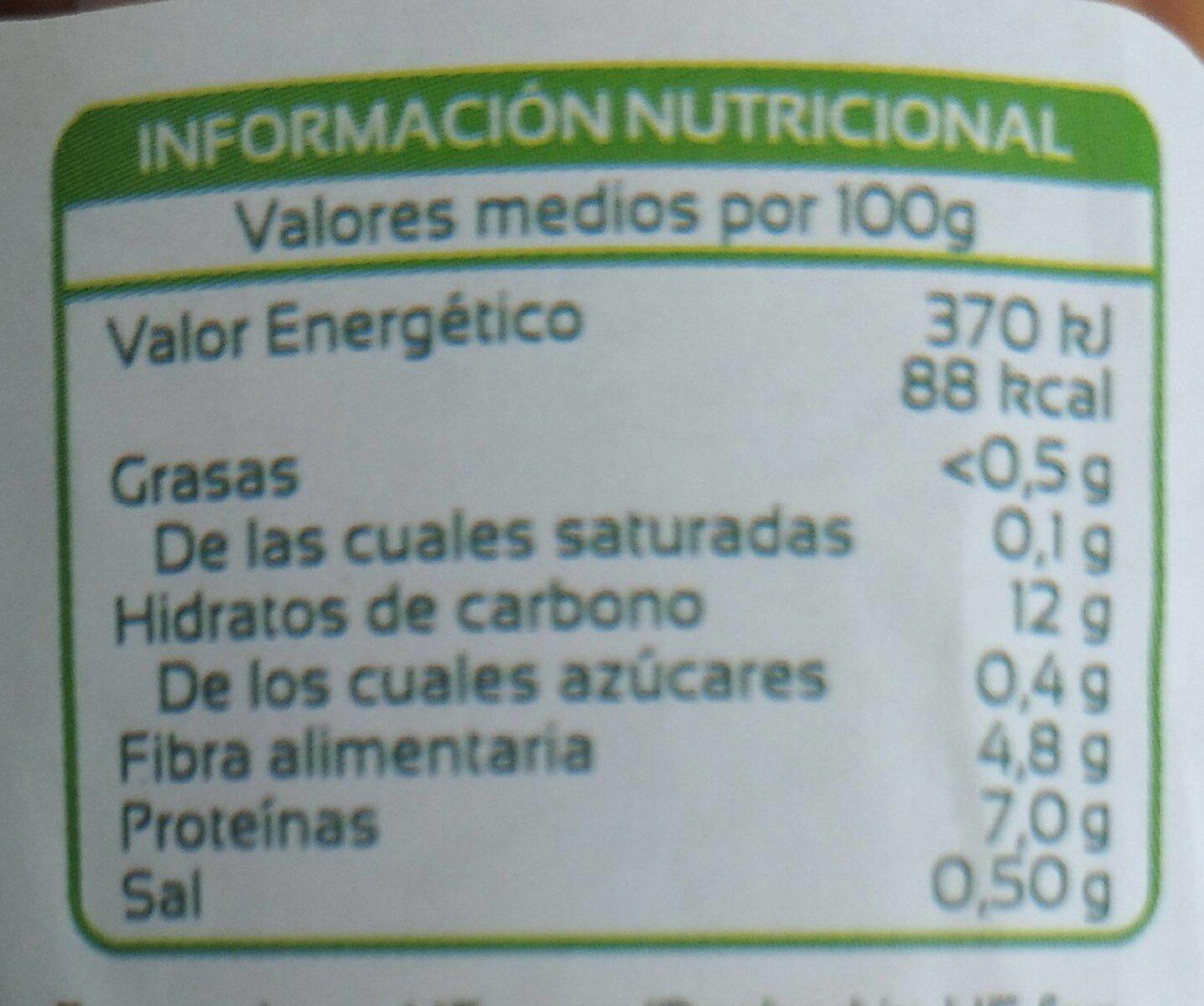 Lentejas cocidas extra - Nutrition facts - es