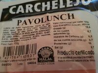Pavolunch - Nutrition facts