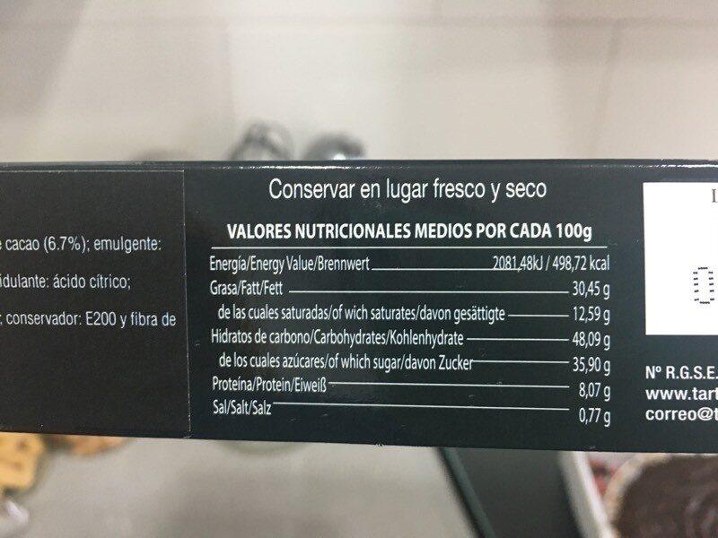 Tarta de almendras con chocolate - Informations nutritionnelles - es