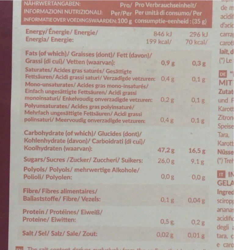 Mochi ice cream tropicale - Valori nutrizionali - fr