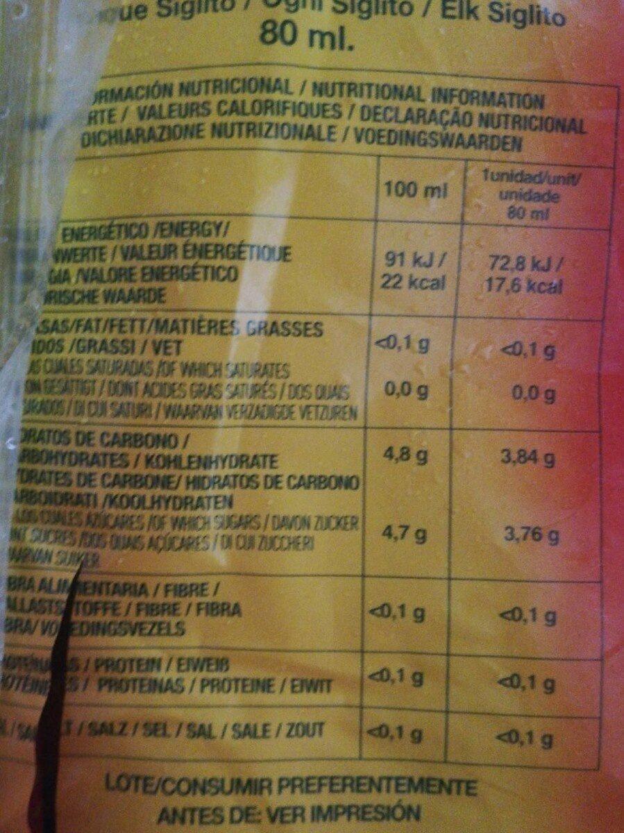 Siglitos Flash's - Información nutricional - es