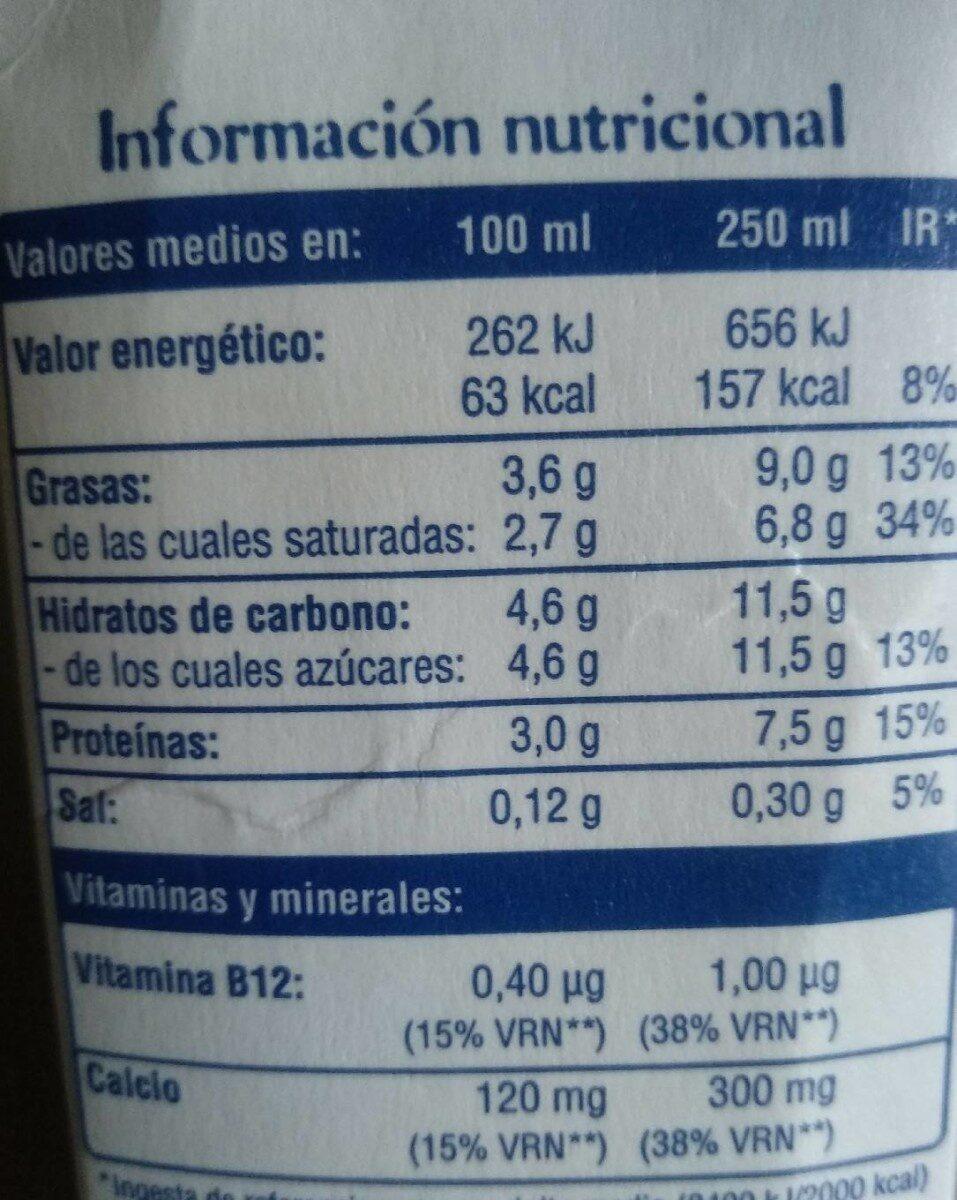Leche entera La Casareña - Voedingswaarden - es