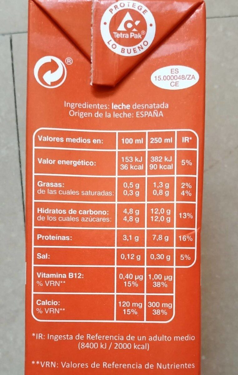 Leche desnatada UHT - Ingredients - es