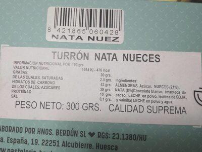Turrón Nata Nueces - Información nutricional - es