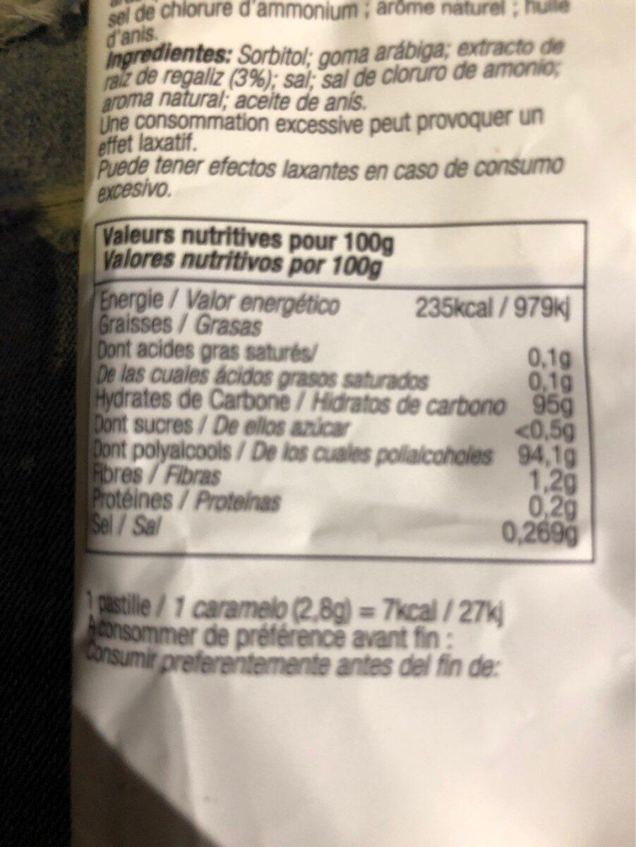 Pastille balsamiques réglisse - Nutrition facts