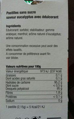 Pastilles eucalyptus - Ingrédients - fr