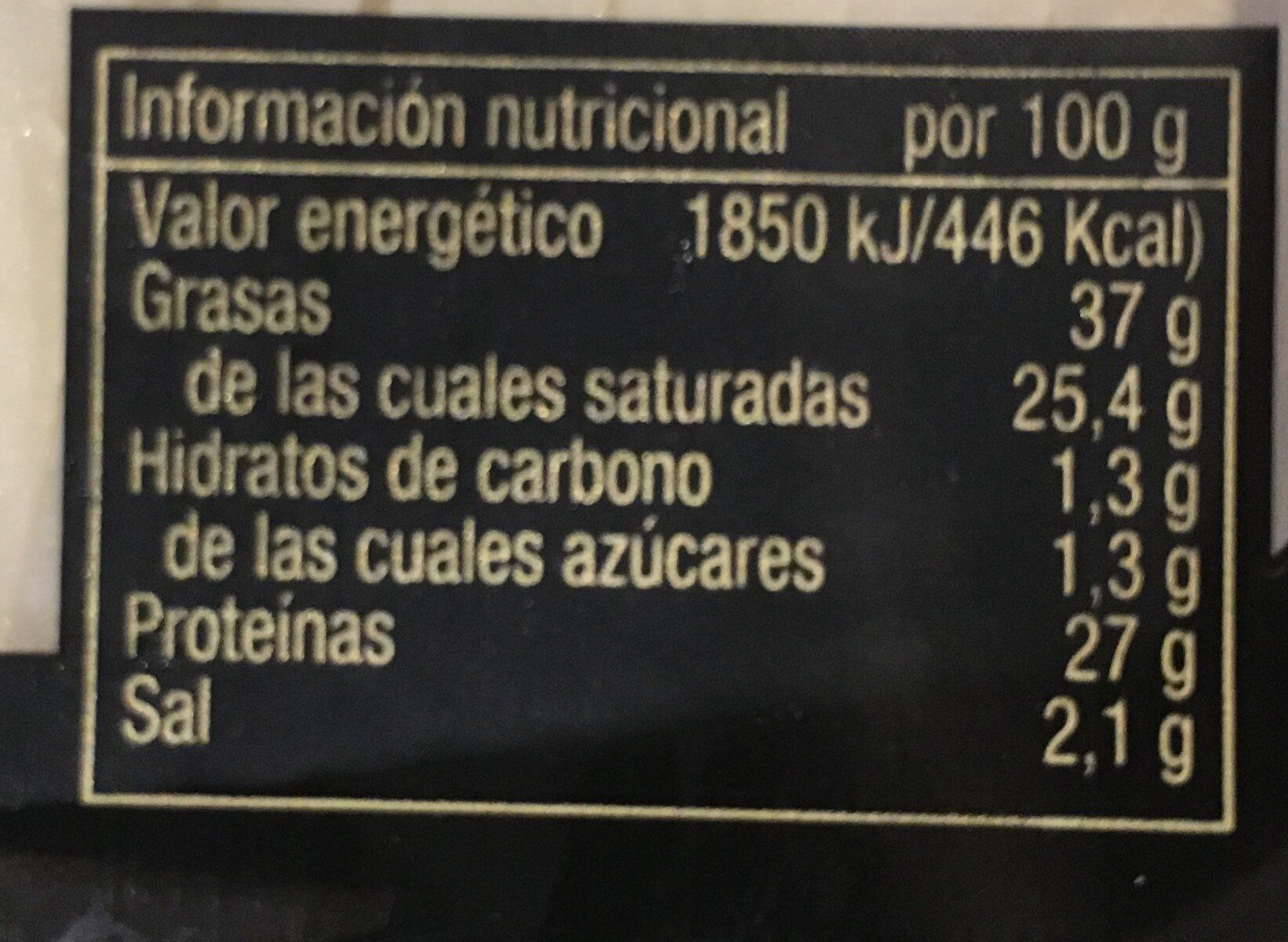Queso de oveja de leche cruda de pastoreo añejo - Nutrition facts