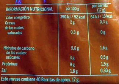 Barritas Krissia - Informations nutritionnelles - es