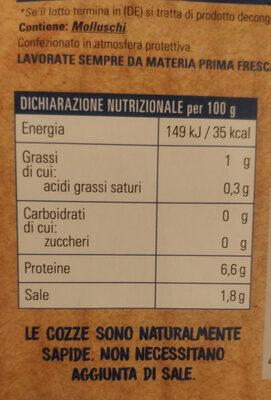 Cozze cotte al naturale bio - Valori nutrizionali - it