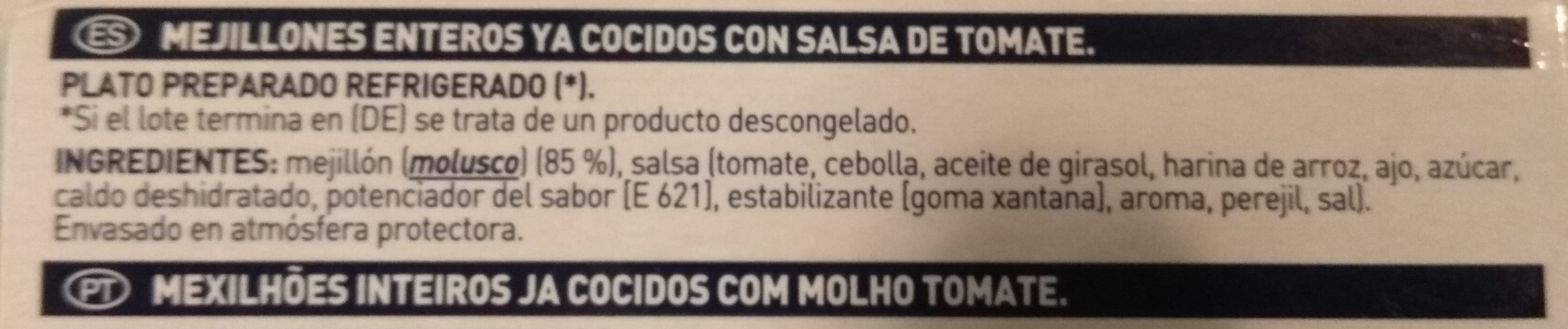 Mejillones en salsa de tomate - Ingredients